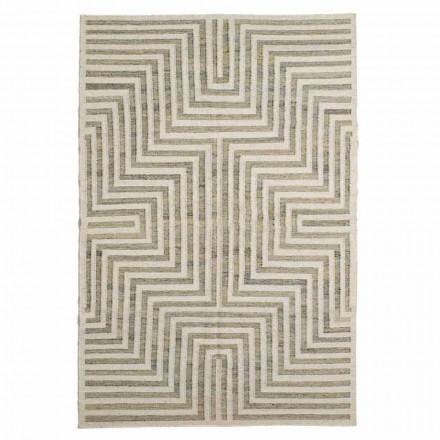 Moderner geometrisch gemusterter Wohnzimmerteppich aus Wolle und Baumwolle - Carioca