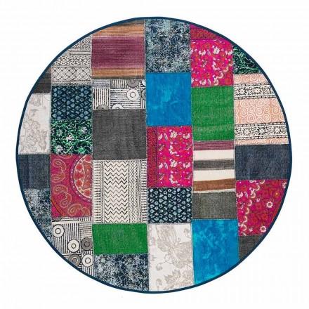 Runder Ethno-Teppich aus farbigem Baumwollstoff - Faser