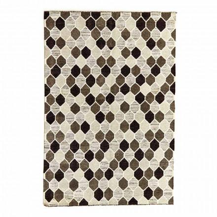 Moderner Design-Teppich mit geometrischem Muster in Wolle und Baumwolle - Tapioka