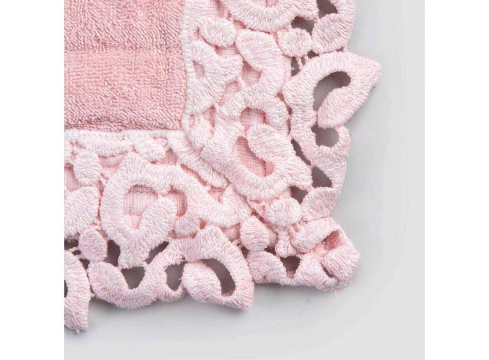 Badematte aus Frottee und Leinen mit Poema Lace 2 Farben - Cuorotto