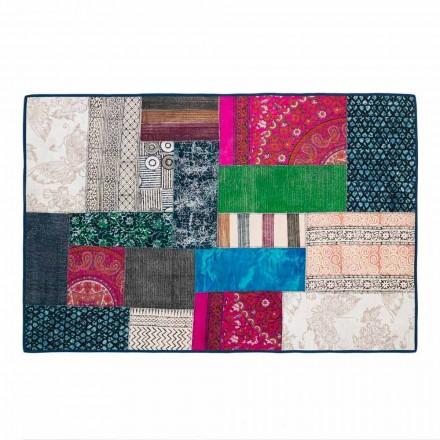 Rechteckiger Teppich aus blauer Kelim-Baumwolle oder farbigem Patchwork - Faser