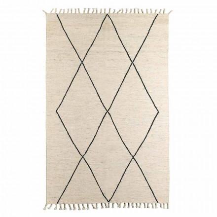 Wohnzimmerteppich aus Wolle und Baumwolle mit modernem geometrischem Design - Metria