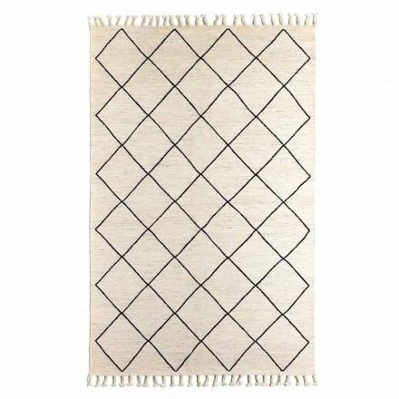 Moderner Wohnzimmerteppich mit geometrischem Muster in Wolle und Baumwolle - Metria
