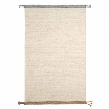 Rechteckiger Wohnzimmerteppich aus Wolle und Baumwolle Vielseitiges und modernes Design - Dimma