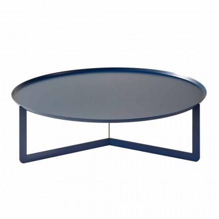 Niedriger runder Tisch im Freien aus farbigem Metall Made in Italy - Stephane