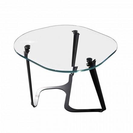 Handgefertigter Couchtisch aus Glas und Stahl Made in Italy - Marbello