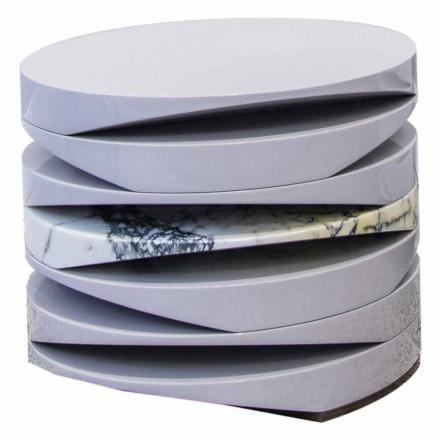 Couchtisch aus weißem Marmor mit Einsatz in Paonazzo Made in Italy - Vita