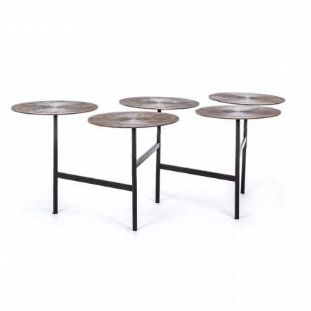 Homemotion Couchtisch mit 5 runden Aluminiumplatten - Pollino