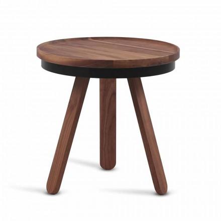 Design Couchtisch mit runder Platte und Beinen aus massivem Holz - Salerno