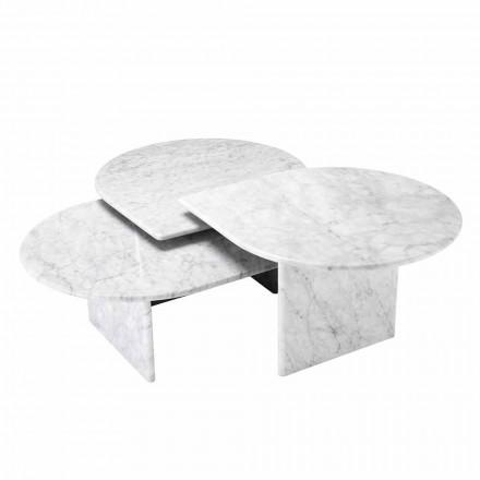 Couchtisch in weißem Carrara-Marmor Format von 3 Stück - Marsala