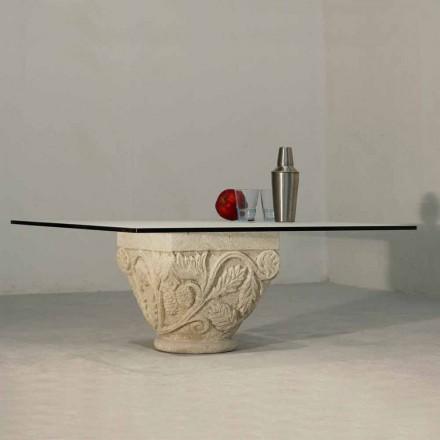 Couchtisch aus Stein und Kristall im klassischen Design Mytros