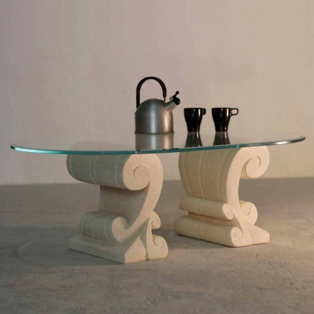 Ovaler Couchtisch aus Stein und Kristall in modernem Design Aracne-S