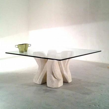 Viereckiger Couchtisch aus Stein und Kristall in modernem Design Kos