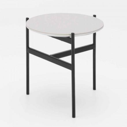 Runder Couchtisch aus Keramik und Metall in modernem Design - Gaduci