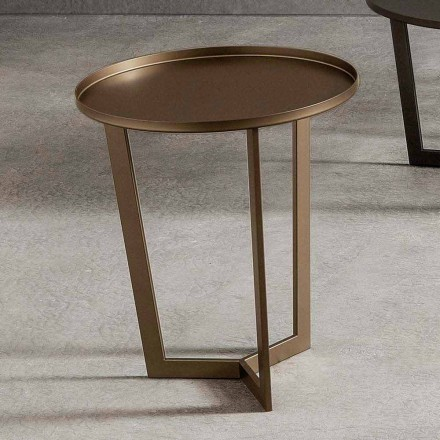 Luxus runder Couchtisch aus lackiertem Metall Made in Italy - Mina
