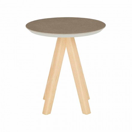 Runder Wohnzimmer Couchtisch aus Eschenholz und Keramik - Amerigo