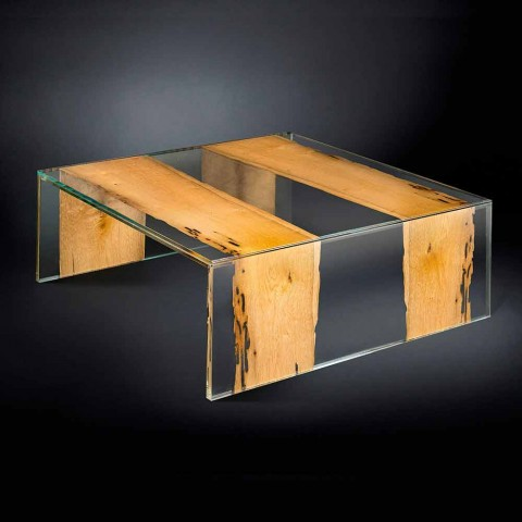moderne Couchtisch aus Glas und Holz venezianischer Briccola