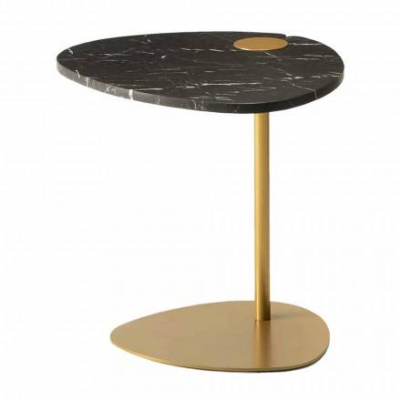 Couchtisch für Wohnzimmer aus Metall und Marquinia-Marmor, Luxus-Design - Yassine