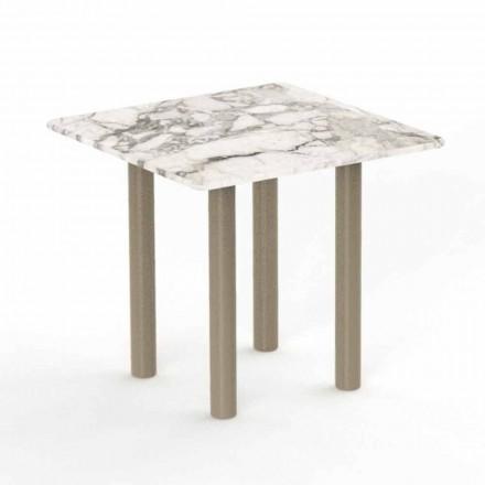 Quadratischer Couchtisch aus Aluminium und Gres für den Außenbereich - Panama von Talenti
