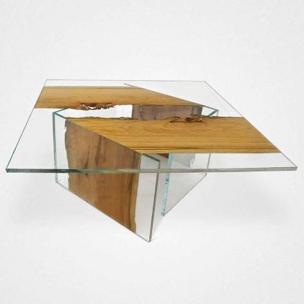 Couchtisch viereckig aus Briccola Holz aus Venedig und Glas Laguna