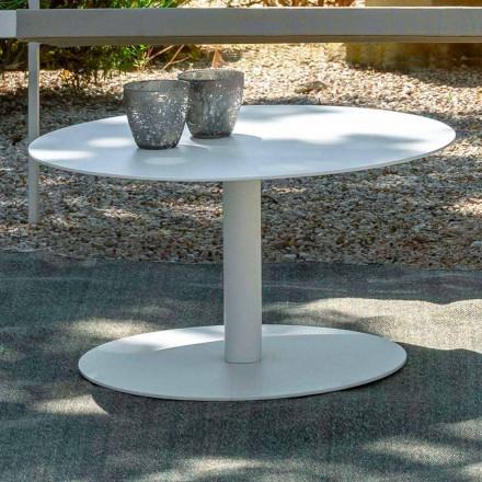 Runder Garten Couchtisch aus weißem Aluminium oder Holzkohle - Key von Talenti
