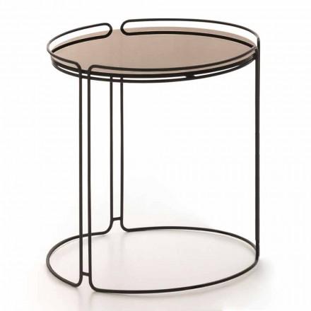 Runder Metall-Couchtisch mit Glasplatte Made in Italy - George