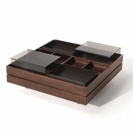 Couchtisch aus Holz mit Details aus Glas und Leder Made in Italy - Ermano