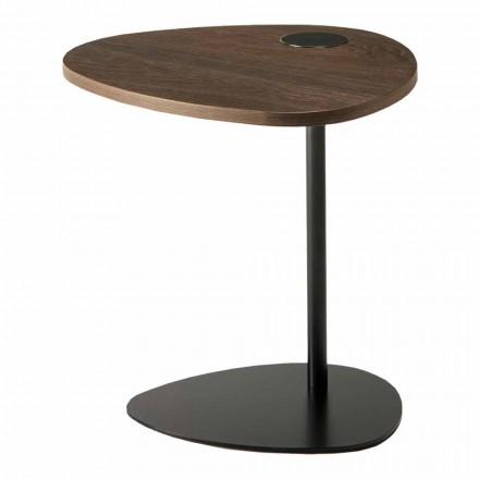 Wohnzimmer Couchtisch in Metall und Holzplatte, Luxus-Design - Yassine
