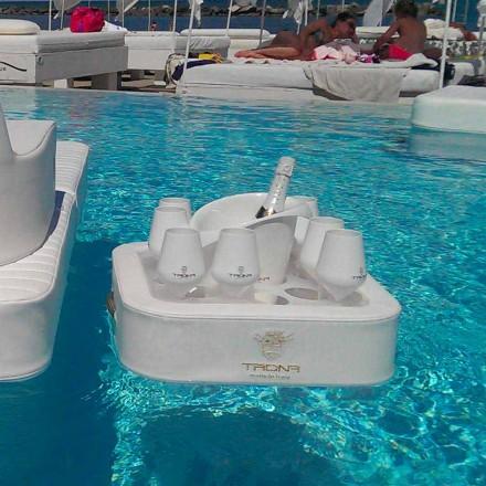 Couchtisch - schwimmendes Tablett aus nautischem Öko-Leder und Trona Plexiglas