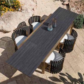 Ausziehbarer Tisch 340 cm Speisen im Freien aus Aluminium und Glas oder Laminam - Julie