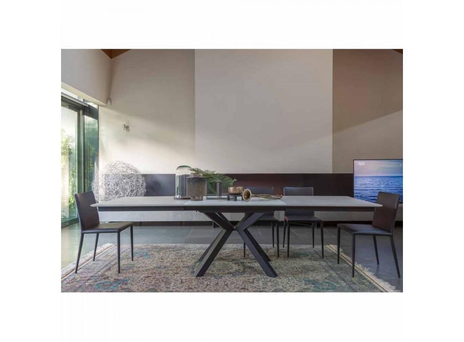 Ausziehbarer Esstisch auf 2,8 m mit Keramik- und Metallbeinen - Paoluccio