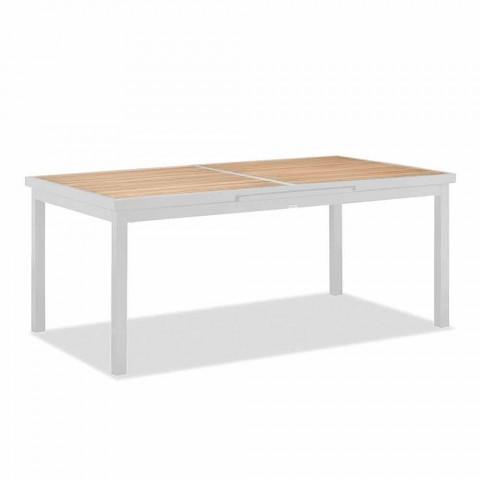 Ausziehbarer Tisch im Freien aus Aluminium und Teakholz - Bilel