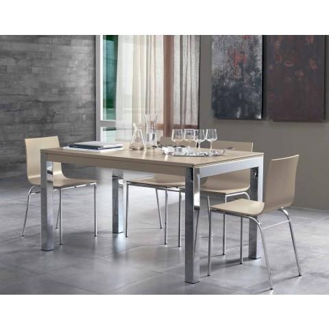 Ausziehbarer Tisch mit Tanganika Walnussholzplatte und Metallbeinen - Ketla