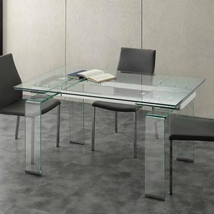 Tisch mit Hartglas Tischplatte ausziehbar in modernem Design Lord