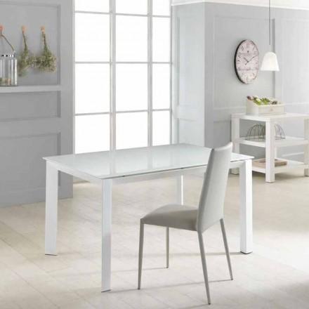 Tisch mit Glas Tischplatte verlängerbar Vinicio