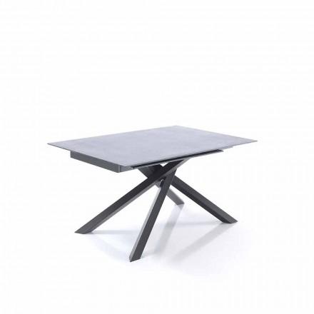 ausziehbarer Esstisch aus Glas und Metall - Tristano