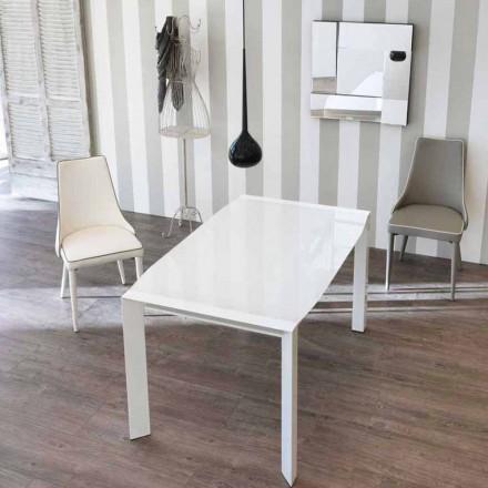 Tisch in modernem Design ausziehbar mit Glas Tischplatte Zeno