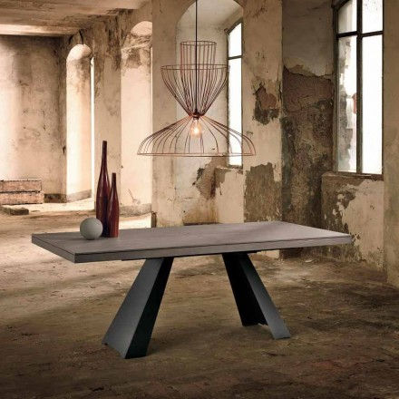 Ausziehbarer Designtisch aus Eichenholz made in Italy Zerba