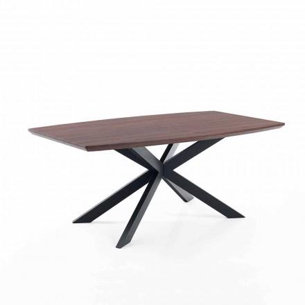 Ausziehbarer Designtisch aus MDF und Metall, Torquato