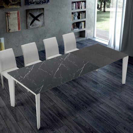 Esstisch ausziehbar bis 14 Sitzplätze aus Ipermarmor r und Stahl – Settanta