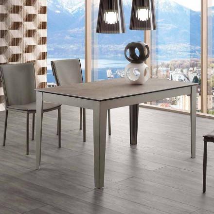 Ausziehbarer Esstisch bis 380 cm aus Glaskeramik und Metall Cagliari