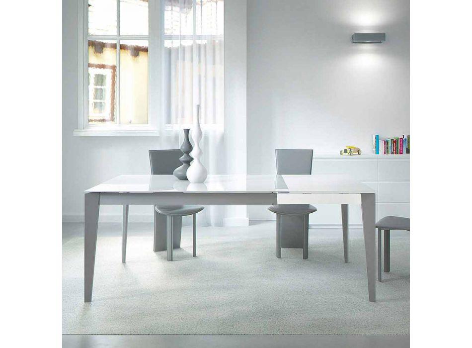 Ausziehbarer Tisch Bis zu 220 cm aus Glas und Stahl Made in Italy - Numana