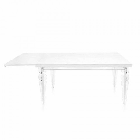 Ausziehbarer Tisch Bis zu 255 cm aus transparentem Plexiglas und weißem Holz - Fabo