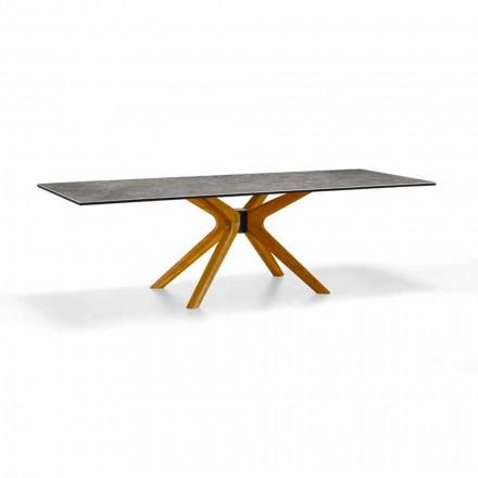 Ausziehbarer Tisch Bis zu 260 cm in Steinzeug und Holz, Luxus Made in Italy - Malita