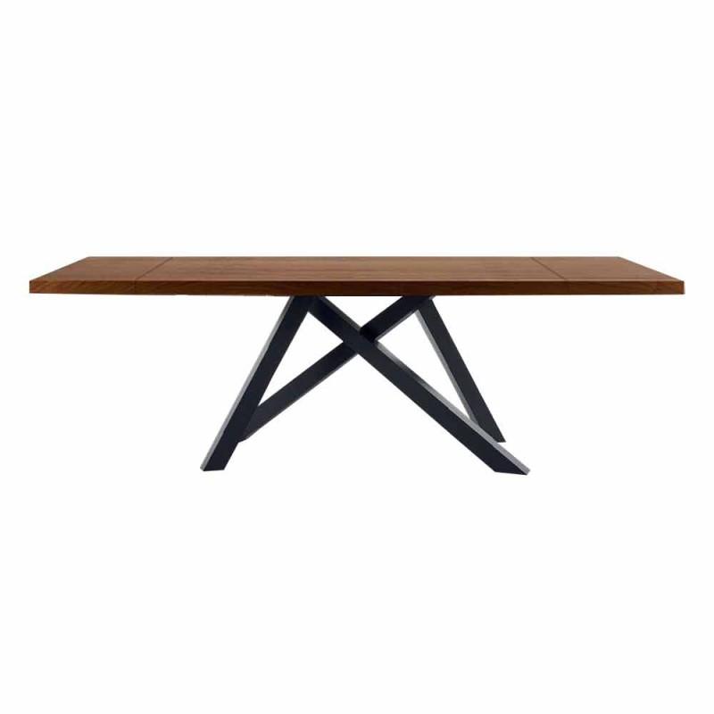 Ausziehbarer Tisch bis 300 cm aus Holz und Stahl Made in Italy - Settimmio