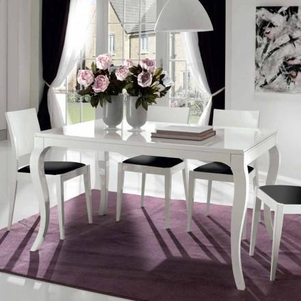 Ausziehbarer Tisch bis 350 cm in glänzend weißer Tanganika-Walnuss - Leomas