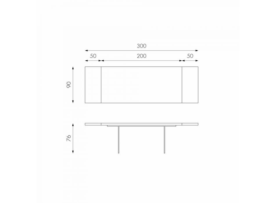 Ausziehbarer Tisch aus Eichenfurnier mit Nico Glasbeinen