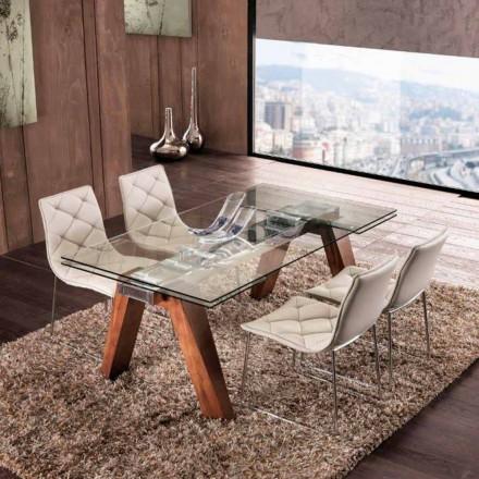 Verlängerbarer Massivholztisch mit Hartglasplatte Chad