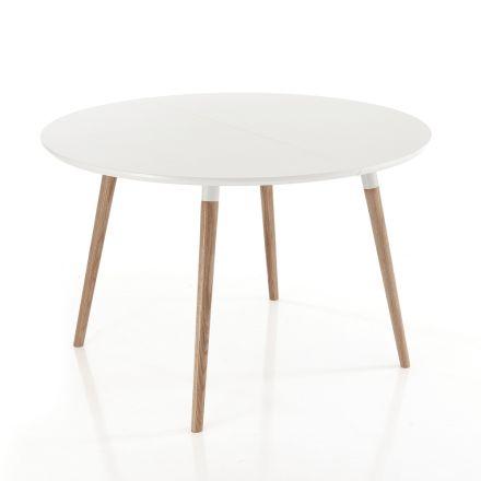 Verlängerbarer Holztisch mit matt weißer Tischplatte Ian