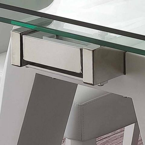 Glastisch ausziehbar, Edelstahl und Weißmetall Florida